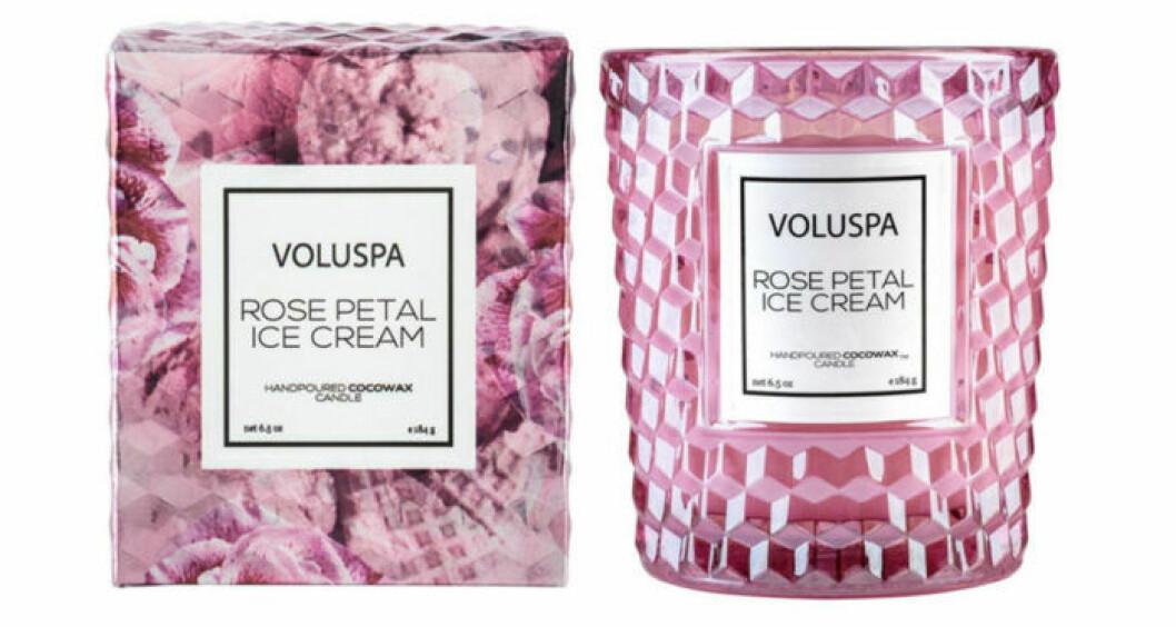 Doftljus från Voluspa som doftar glass och hallonpaj.