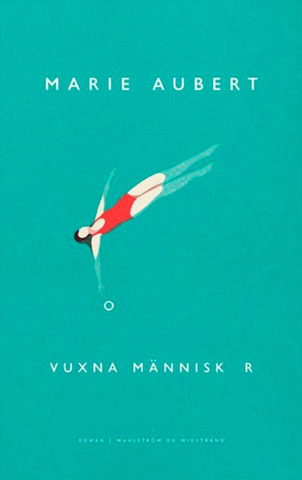 Bokomslag till Vuxna människor, en tecknas kvinna flyter på rygg i vattnet.