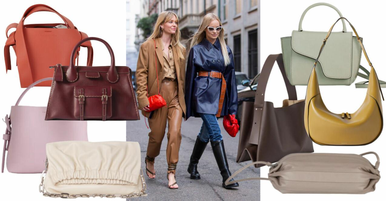 Inspirationskollage med väskor som matchar vinterns mörka ytterplagg. Alla produkter beskrivs mer i artikeln. Inspirationsbild med två tjejer som piggar upp sina monokroma outfits i mörkblått och brunt med knallröda väskor.