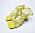Gula sandaler med klack, öppen tå och flera remmar över foten. Sandaletter från Zara.