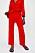 Röda, raka byxor med struktur och resår i midjan. Byxor från Zara.